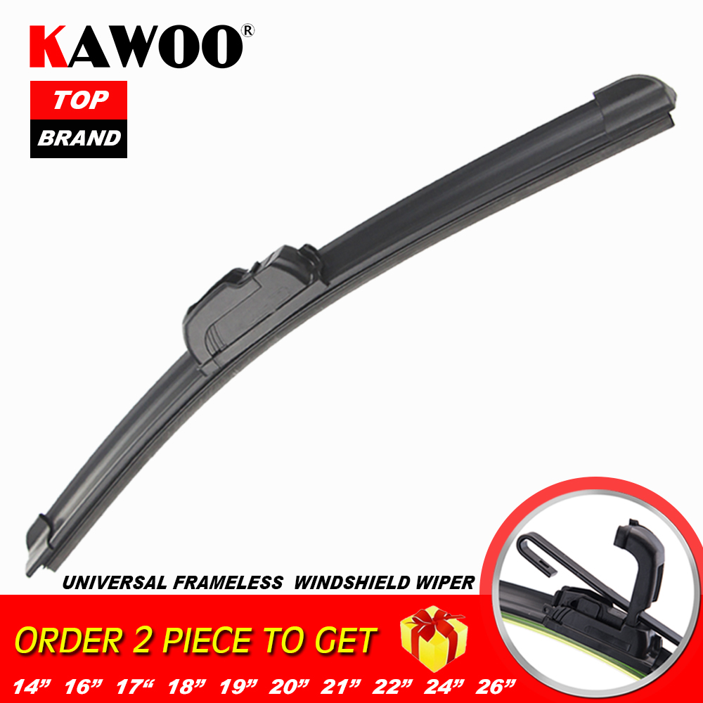 "KAWOO Universal Car Wiper Blade J-type Soft Frameless Bracketless Rubber Car Windshield Wipers 14""16""17""18""19""20""21""22""24""26"""
