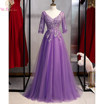 Purple Prom Dress 2020 Lace Applique 3/4 Sleeve Beading Crystal A Line Tulle Sleeveless Long Evening Gown Formal vestidos para charming a line sweetheart sleeveless beading prom dress