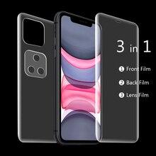 Para iPhone Glass 11 Pro Max 2019 9D Protector de pantalla de cubierta completa para iPhone XR X XS Max 11 frontal + película trasera + Cristal de lente de cámara