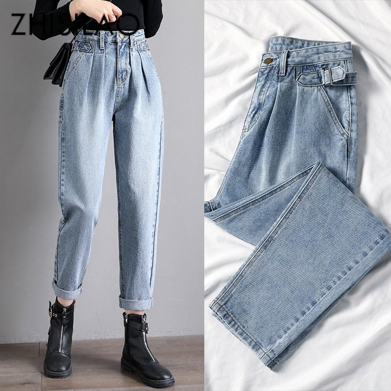 Straight Harem Jeans Women Vintage Mom High Waist Jeans Plus Size Retro Boyfriend Jeans Street Blue Black 2020 Denim Pants