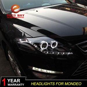 Чехол для Фар Ford Mondeo 2007-2012, для фар fusion, ДХО, с ангельскими глазками, биксеноновыми линзами и ближнего света