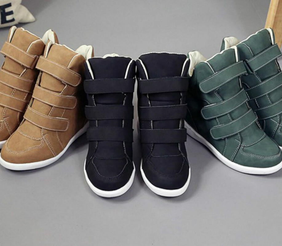 Fashion Flat High Heels Wedges Leather Shoes Women Fashion Sneakers Brand Casual Shoes Woman Black Winter Ankle Boots