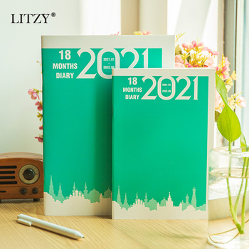 LITZY 2021 Monthly Planner Notebook Journal A5 B5 Clock-in Schedule DIY Office 18-month Plan Diary Notepad School Supplies fresh illustrator booklet gift box color pages plan notebook schedule diary notebook customization office school gift supplies