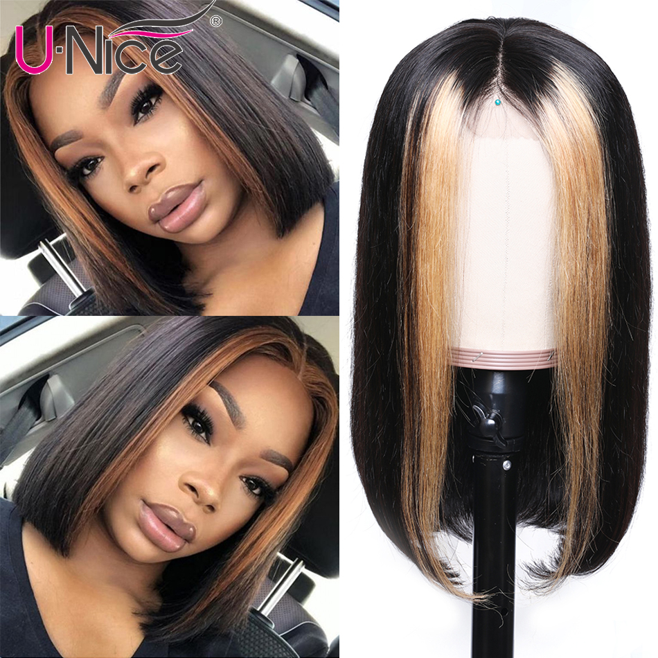 """Unice Hair 13x4 Highlight Lace Front Human Hair Wigs 8 24"""" Brazilian straight Hair Wigs Remy Human Hair Wigs Half Up Half Down-in Lace Front Wigs from Hair Extensions & Wigs"""