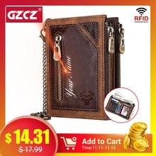 GZCZ 100% Genuine Leather Rfid Wallet Men Coin Purse Short Male Money Bag Chain Portomonee Male Wallet Pocket Free Engrave