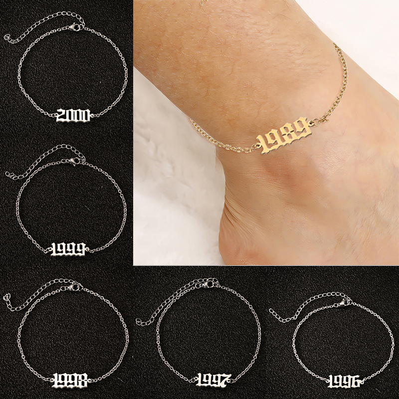 1980-2000 Birth Year Initial Anklet Bracelet Old English Font Anklets for Women 1997 1998 1999 Anklet Leg Chain Foot Jewerly