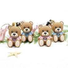 Мультяшная кожаная цепочка с медведем, брелок для ключей, креативные милые Мультяшные куклы брелоки, женская сумка, автомобильный брелок, Детские Подарочные игрушки
