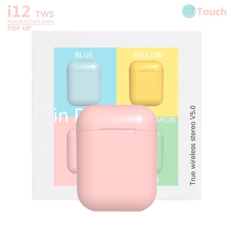 Macaron I12 Tws Wireless Headphones Bluetooth 5.0 Earphones Original Inpods 12 Touch Pop-up True Mini Earbuds Earpiece For Phone