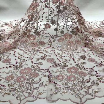 NaXiu Latest 2020 Wholesale Pink Lace Fabric With Sequins Sequence Lace Fabric for Wedding Party 5yards French Lace Fabric