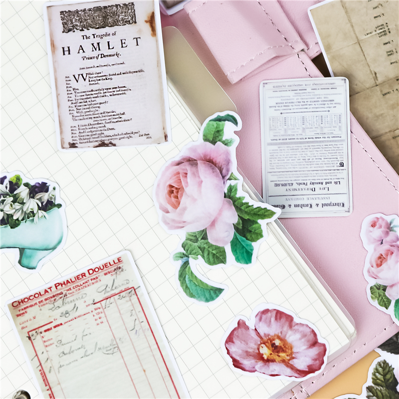 26pcs/pack Cute Retro File Flower  Stationery Stickers Pack Posted It Kawaii Planner Scrapbooking Memo Sticker School Supplies