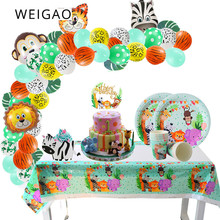 WEIGAO Jungle Party Animal Foil Balloons Cake Toppers Paper Cups Plates Kids Birthday Decoration Safari Supplies