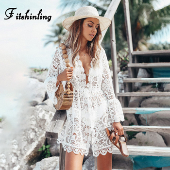 Fitshinling Deep V Neck Lace Beach Pareos Swimwear Long Sleeve Bohemian Slim Sexy Short Dresses Women Holiday Bikini Cover-Up