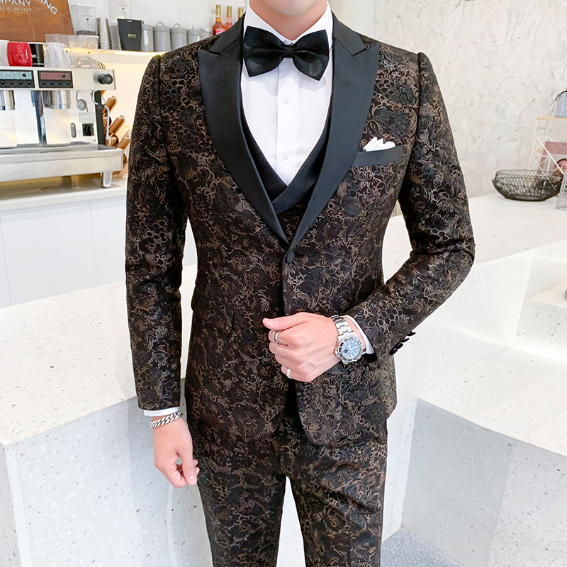 2019 British Wedding Suits For Mens Terno Masculino Slim Fit Jacquard Suits Mens Business Gentleman 3 Piece /2 Piece Suits Mens