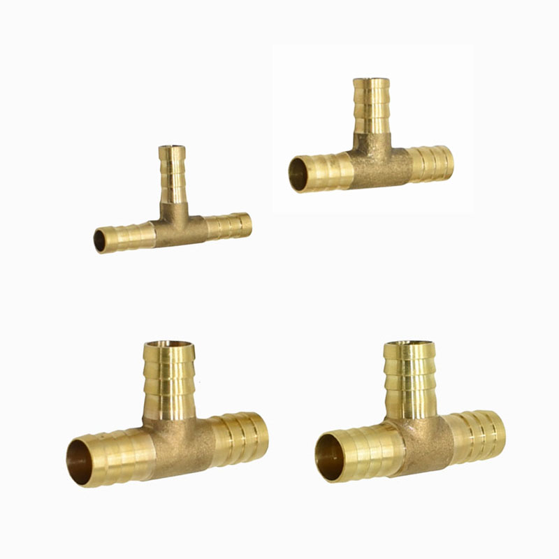 T Type 8mm 10mm 14mm 16mm Tee Barb Connector Brass Water Splitter Air Pipe Gas Pipe Quick Coupling Pipe Fittings 1Pcs