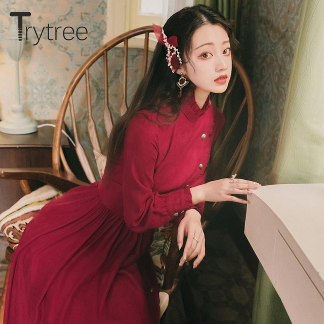 Trytree 2020 Autumn Winter Casual Women's Dress Corduroy Stand Collar Side Buttons Puff Sleeve Ankle-Length A-line Vintage Dress 3