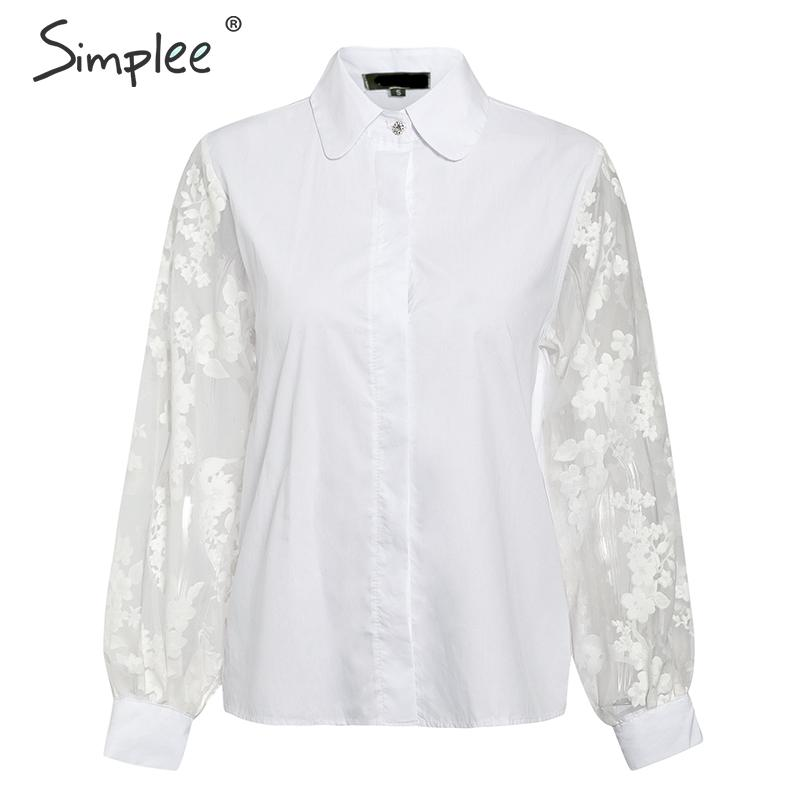 Image 4 - Simplee Elegant pearl mesh blouse shirt women Puff sleeve female white top shirt Spring white casual party wear ladies work topsBlouses & Shirts   -