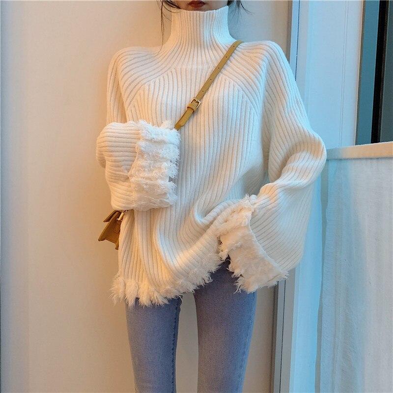 [EWQ] 2019 Autumn New Pattern Turtleneck Solid Knitting Tassel Pullovers Casual Warm Sweater Women Fashion Tide AH26701