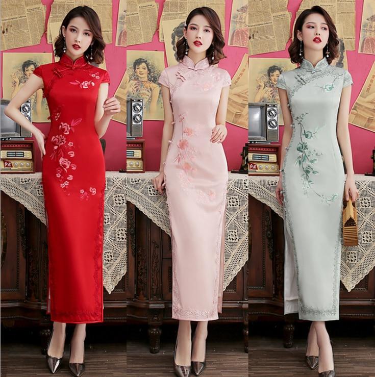 Bb328 Улучшенная Мода маленькая свежая девушка Вышитые Длинные cheongsam 2019 лето новая вышивка cheongsam
