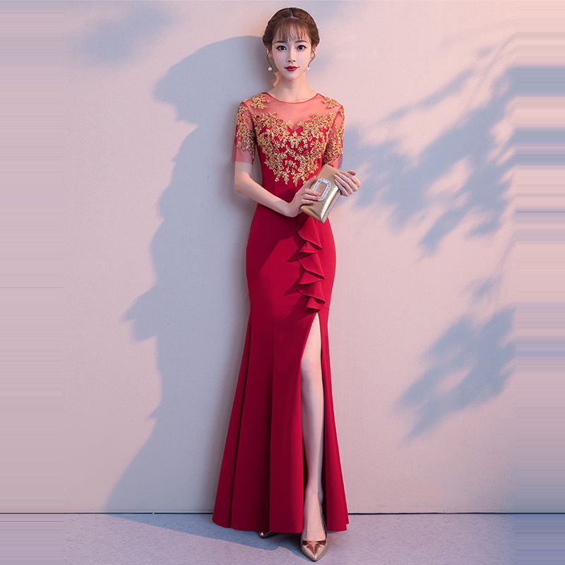 Evening     Dress   O-neck Women Party   Dresses   Short Sleeve Zipper Robe De Soiree 2019 Sexy Split Hollow Ruffles Formal Gowns F234