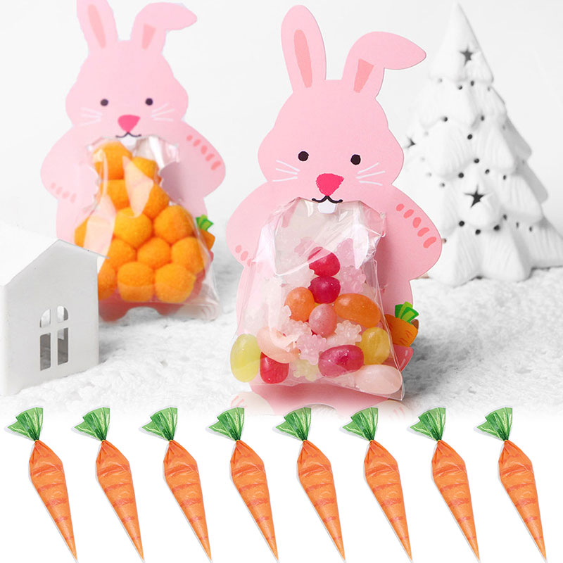 Rabbit Candy Bag With Greeting Cards Easter Bunny Carrot Candy Bag Cones Transprant Plastic Bag Kids Birthday Party Decoration
