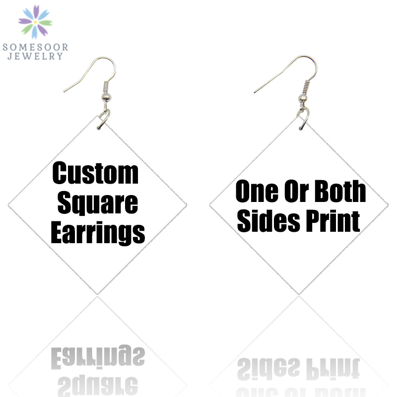 SOMESOOR 7.8cm Large Customized Square Printed African Wooden Drop Earrings Personalized Afro Wood Dangle Jewelry For Women Gift