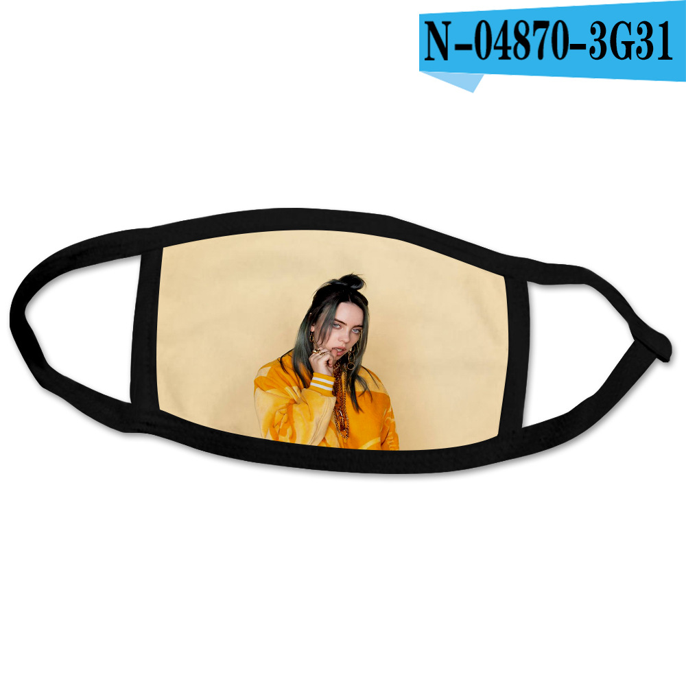 Billie Eilish Dustproof Anti-fog Fashion Printed Washable Mask Water Resistant Reusable Anti Dust Mouth Muffle Wholesale