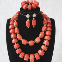 4UJewelry Newest Bridal Jewelry Set 100% Genuine Coral Beads Jewelry Set 2 Layers Nigerian Wedding African Beads 15mm 22mm Gift Set