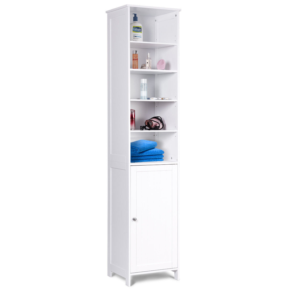 72''H Tall Floor Storage Cabinet Free Standing Shelving