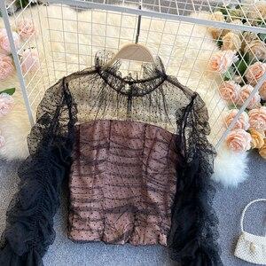 SINGREINY Mesh Patchwork Bluse Frauen Frühling O Hals Flare Hülse Elastische Geraffte Tops Koreanische Feste Polka Dot Kurze Blusen Bluse    -