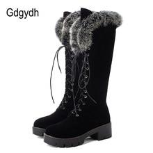 Gdgydh-Botas de nieve con cordones para mujer, botas de piel auténtica hasta la rodilla, tacón grueso de ante, cálidas, para exterior, con cremallera, talla grande 43