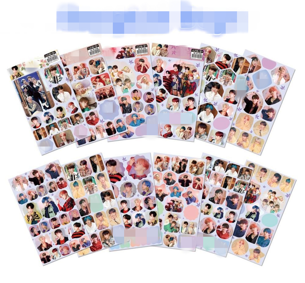 12 pcs/set Bangtan Boys Small wall <font><b>sticker</b></font> Korean star KPOP around <font><b>stickers</b></font> gift <font><b>Kim</b></font> Tae Hyung Jung Kook jin rm jimin image