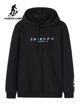 Pioneer camp moda streetwear hoodies masculino preto cor branca algodão causal moletom outono novo 2020 awy901556a