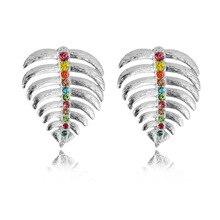 New Shiny Colorful Rhinestone Big Luxury Leaf Stud Earrings for Women Bridal Wedding Party Statement Jewelry orecchini Gift
