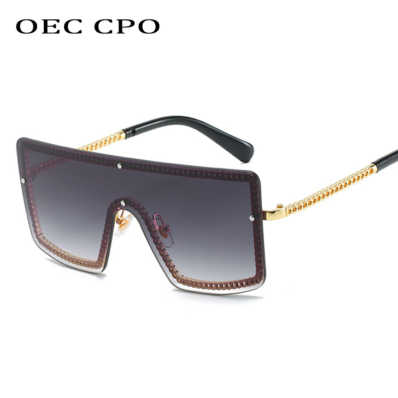 OEC CPO Fashion Ladies Rimless Sunglasses 2019 Brand Designer One piece Sun Glasses For Female Men Trendy Goggles Oculos  O253