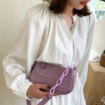 Women Crocodile Pattern Handbag Design Retro Metal Round Buckle Handbags 2020 New Shoulder Bag Underarm Crossbody Bags Totes