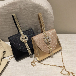 Image 5 - Luxy Moon Women Leather Handbag Luxury Diamond Clutch Purse for Bridal Party Shoulder Bag with Heart Crystal Decoration ZD1490
