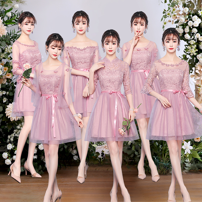 Wedding Guest Dress Elegant Princess Tulle Burgundy Bridesmaid Short Party Champagne Pink Eve Party Dress Sexy Prom Vestido