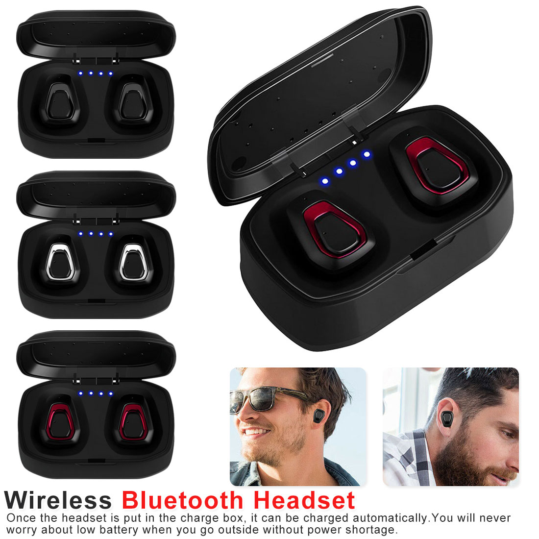 Red A7 Bluetooth Earphone Pair Mini Earpiece Wireless Headphone with Charging Box Cordless Earbuds Hands Free Headset