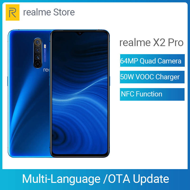 Realme X2 Pro X 2 8GB 128GB  Moblie Phone Snapdragon 855 Plus 64MP Quad Camera NFC Cellphone 50W Fast Charger