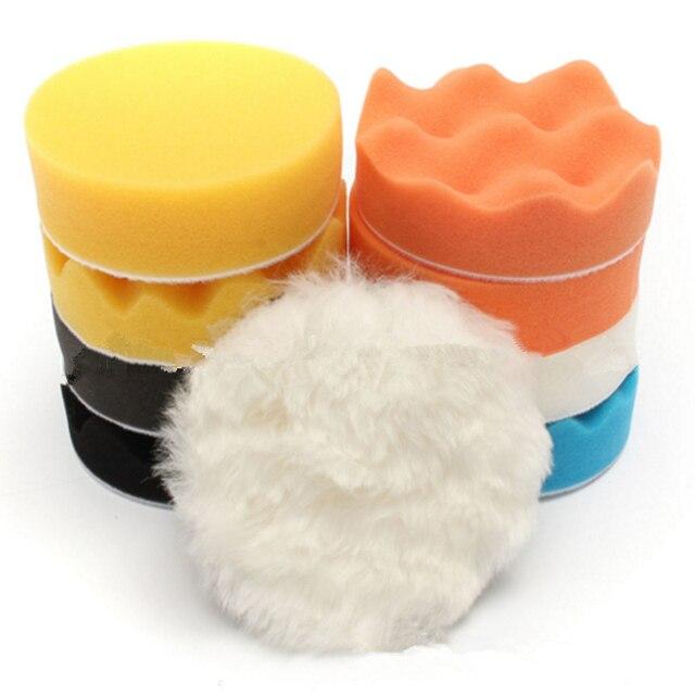 3inch Car Polishing Disc 11Pcs/Set Self-Adhesive   Buffing Waxing Sponge Wool Wheel Polishing Pad For Car Polisher Drill Adapter 6
