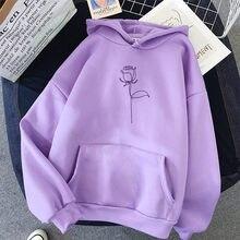 Sweat-shirt à manches longues en velours pour femmes, ample, poches, automne-hiver, sweats à capuche imprimés Rose, décontracté