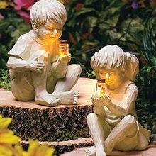 Uma criança jardim estátua resina pote com vaga-lumes menino menina estátua decoração do jardim presente dia das mães decoração para casa figurinhas