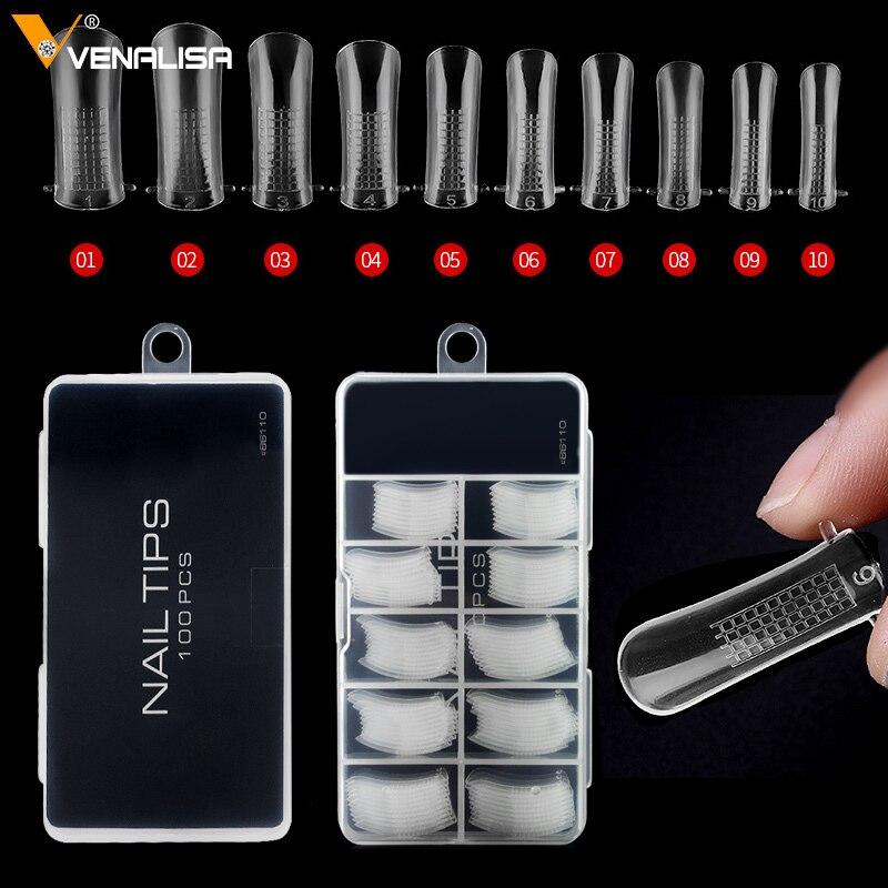 Прозрачные накладные ногти 100 шт., для полигеля, для наращивания ногтей, для дизайна ногтей, Искусственный акриловый гель для ногтей, гель для ногтей, формы для дизайна ногтей|gel nail art|gel nailacrylic gel | АлиЭкспресс