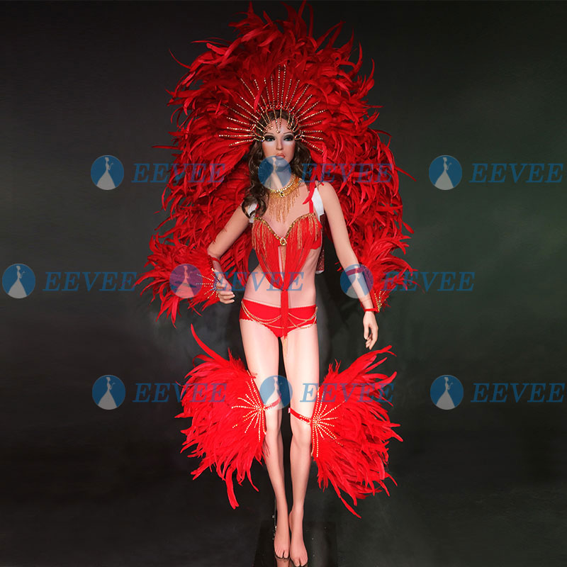 Red Feather Opening Dance Costume Set GOGO Dance OutfitTeam Passion Samba Stage Performance Costume