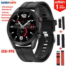 L19 inteligentny zegarek mężczyźni Bluetooth zadzwoń IP68 wodoodporna ekg + ciśnienia krwi PPG bransoletka Fitness Tracker SmartWatch mężczyźni PK L13 L16 tanie tanio JuniorCare CN (pochodzenie) Brak Na nadgarstku Wszystko kompatybilny 128 MB Passometer Uśpienia tracker Wiadomość przypomnienie