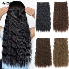 Nicesy preto longo ondulado sintético clip-in extensões de cabelo 22 Polegada cabelo feminino alta tempreture cabelo sintético pedaço 5 clipes
