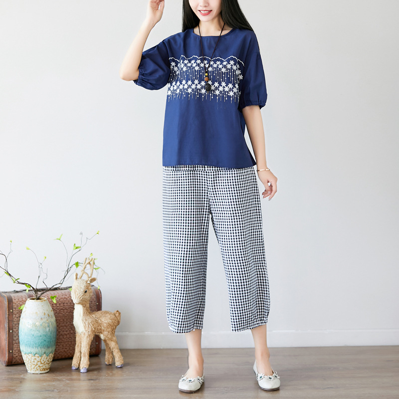 2019 Summer New Style Retro Literature And Art Loose And Plus-sized WOMEN'S Dress Cotton Linen Embroidered Tops Loose Pants WOME