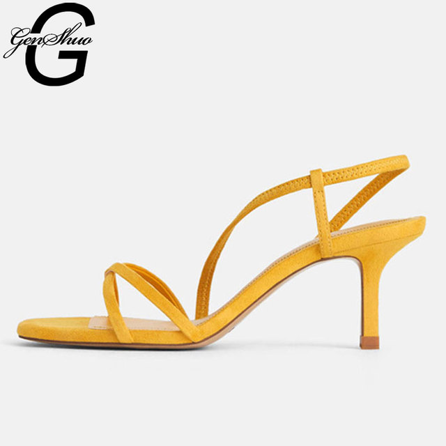 $ US $29.44 GENSHUO Gladiator Sandals Women High Heels Shoes Females Square Head Vintage Open Toe Slip-On Yellow Narrow Band Sandals Women