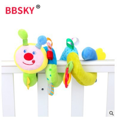 Cute Caterpillar Musical Core Sound Making Bed Around Bed Hanging Infant Toy Rattle Teether Bed Bell Toy