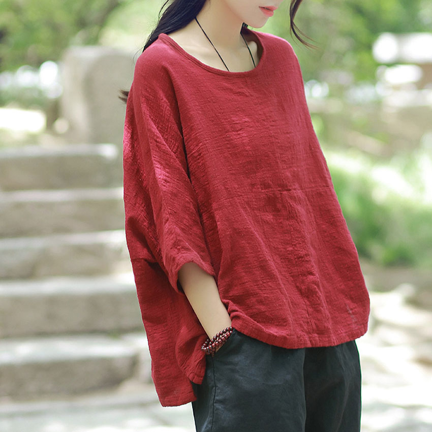 Cotton Linen Blouse Summer Short Sleeve Casual Shirt Women Tops Loose Style Chinese Tops T-shirt Teasim Wear Clothes
